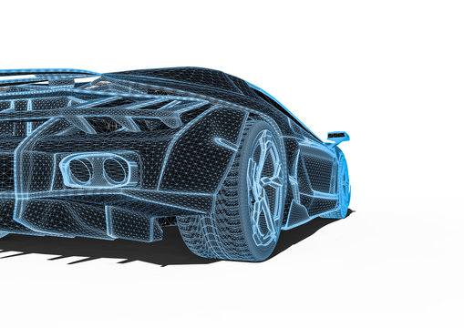 Hyper car radiography / 3D render image representing an Hypercar x-ray scanning
