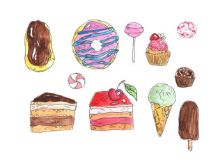Watercolor set of hand painted food elements.Sweets and ice cream.