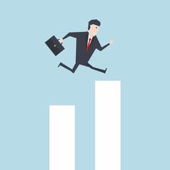 Businessman Jump Through The Gap In Growth Chart vector.