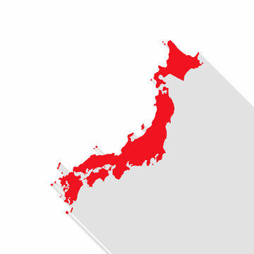 Japan map with long shadow on white background.
