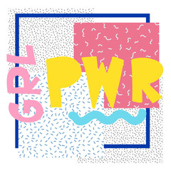GRL PWR short quote. Girl Power simple cute illustration for print, bag, clothing. Perfect to stick on laptop, phone, wall everywhere. Modern feminist slogan, the latest tattoo trend