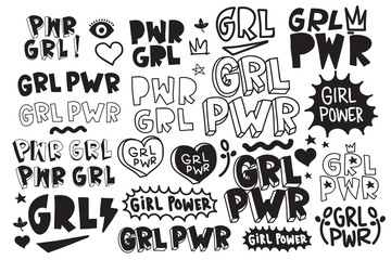 Typography slogan Girl Power text, decorative elements