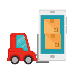 forklift vehicle with smartphone and boxes
