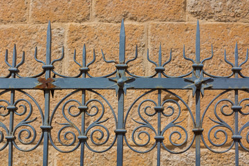 Wrought iron gate with beautiful shapes and ornaments