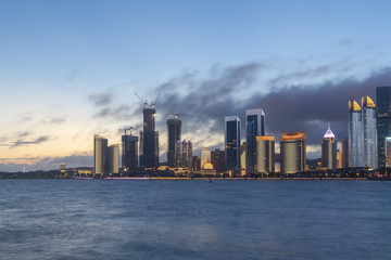 Night view of modern urban architecture landscape in Qingdao..