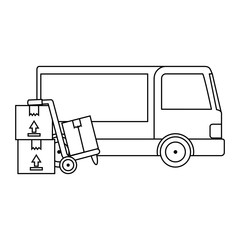 delivery service truck with cart