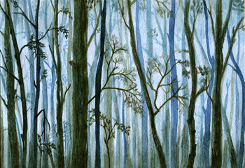 Silhouettes of trees in a fog, misty forest - watercolor hand drawn illustration