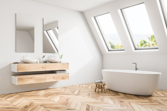 White attic bathroom interior corner