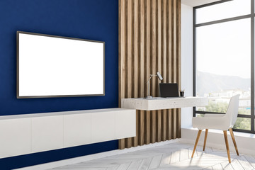 Blue and wood loft home office, mockup tv
