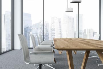 White panoramic meeting room interior close up