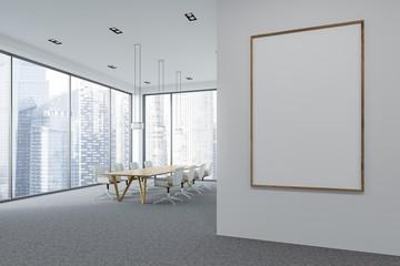 White panoramic meeting room interior, poster