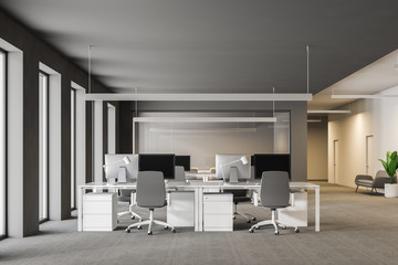 Gray office workplace and conference room