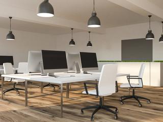 Start up office interior, computer desks rows