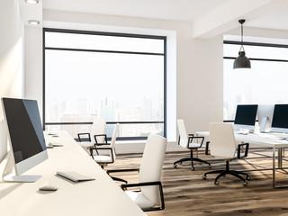 White loft office interior, cityscape