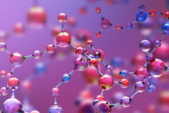 Purple transparent molecule model over purple