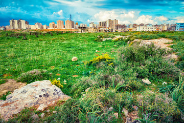 Landscape with green valley and Tripoli city, Lebanon