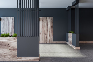 Gray hotel, office or apartment block lobby