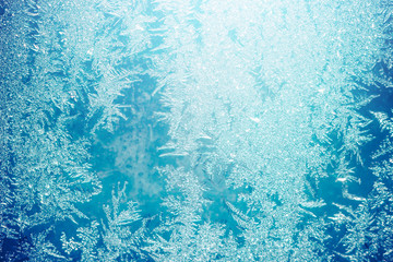 Frost on window. Nature winter abstract background