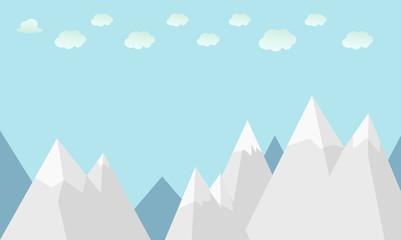 Flat winter mountains with clouds and sky background vector illustration.Nature scene with mountain view.