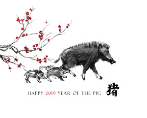 """Pig sumi-e greeting card oriental new year. A boar mother with piglets and a branch of cherry blossom, Eastern ink wash painting. With Chinese hieroglyph """"pig"""" and text."""