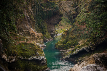 Photo sur Toile Riviere Beautiful azure mountain river flowing in Martvili canyon