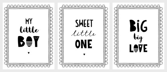 Hand Drawn Posters with a Cute Quotes. Delicate Lace Style Frame. White Background. Black Simple Design. Infantile Illustration Set.