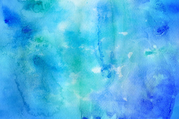 Colorful watercolor winter paper textures on white background. Chaotic abstract organic design.