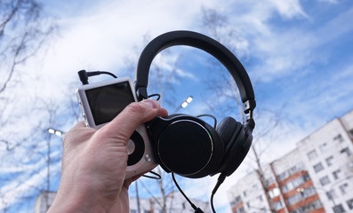 Headphones for listening to music on a personal player or smartphone.