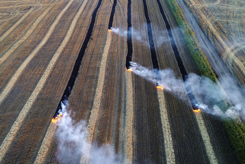 An aerial view shows burning straw after wheat harvested in a field of the Solgonskoye private farm outside the Siberian village of Talniki in Krasnoyarsk region