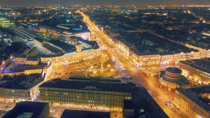 Fotobehang - Busy street city traffic from above. Aerial view of Saint Petersburg, Russia. 4K UHD Timelapse.