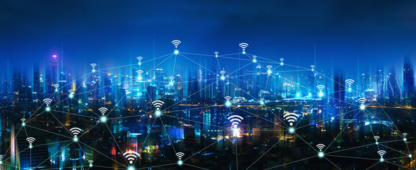 Wall Mural - Wireless network and connection city