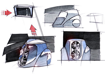 Sketch project is a concept of multimedia installation with an acoustic system for cars and music festivals.