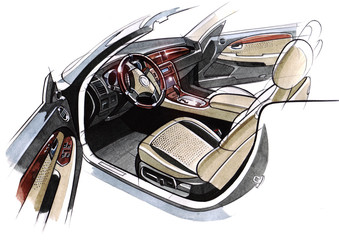 Drawing of the exclusive interior design of the car with the elaboration of all the elements of the modern passenger compartment of the vehicle.