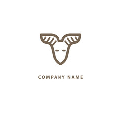 Abstract vetor logo Goat design. Sign for business, zoo, wild animal. Modern minimalistic geometric icon.