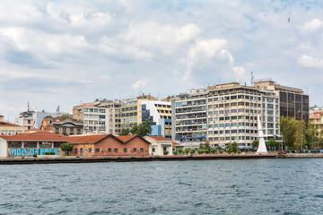 Thessaloniki, Greece - August 16, 2018: Coast of historical cityview of Thessaloniki, Greece.