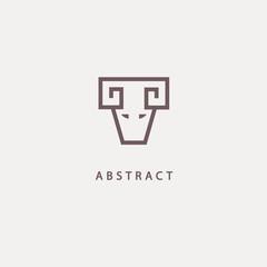 Abstract vetor logo Goat design. Sign for business, zoo, wild animal. Modern minimalistic geometric icon.