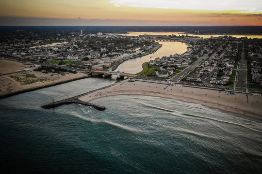 Aerial View of Belmar New Jersey in the Summer