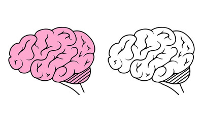 Vector isolated flat human brain. Icon concept. Psychology illustration.