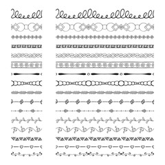 Black hand drawn borders and dividers. Ink and brush vector illustration.