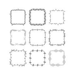 Set of hand drawn square frames. Vector isolated. Fancy design elements.