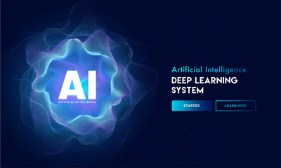 Artificial Intelligence (AI) landing page design, hi-tech blockchain network on neural network background.