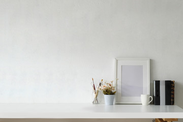 Mockup workspace with white frame and copy space.