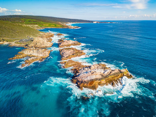 Papiers peints Caraibes Aerial photograph of Canal Rocks in Yallingup, between the towns of Dunsborough and Margaret River in the South West region of Western Australia, Australia.