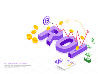 Purple 3D text ROI on white background with infographic elements and coin stack for Return On Investment concept based web template design.