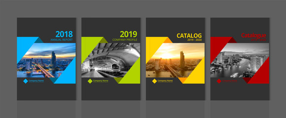 Obraz Cover design for annual report business catalog company profile brochure magazine flyer booklet poster banner. A4 landscape template element cover vector EPS-10 sample image with Gradient Mesh. - fototapety do salonu