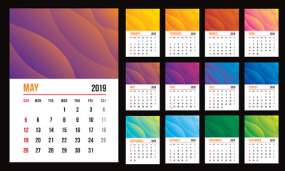 Vector design template of calendar for 2019 year. colourful backgrounds