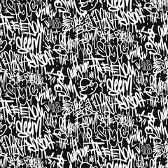 Tuinposter Graffiti Vector graffiti tags seamless pattern, print design.