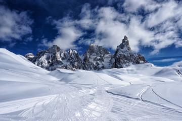 Snow mountain winter landscape view Dolomites Italy