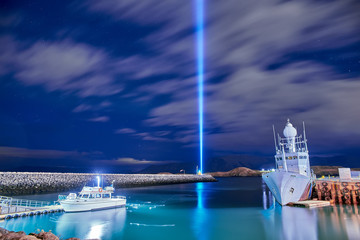 The Imagine Peace Tower on Videy island in Reykjavik