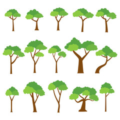 Collection of trees vector on white background